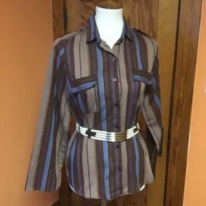 Vintage 80s earthy stripes bell sleeve shirt